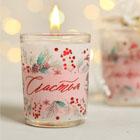 новогодние свечи в стакане