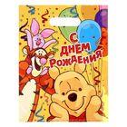 """Пакет подарочный полиэтиленовый Медвежонок Винни """"С Днем Рождения"""", 22,3 × 29,2 см, 30 мкм"""