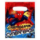 """Пакет подарочный полиэтиленовый """"Суперподарок для супергероя"""",Человек-Паук, 17 х 20 см, 30 мкм"""