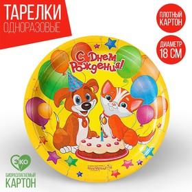 Тарелка бумажная 'С Днём Рождения! Пёсик и кошечка', 18 см Ош