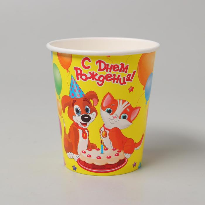 "Glass paper ""happy Birthday! Doggie and kitty"", 250 ml"