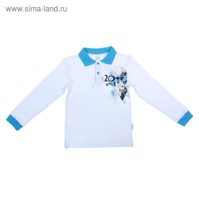 Рубашка-поло с дл.рукавом для мальчиков, рост 134 см (68), цвет белый CAJ 6087