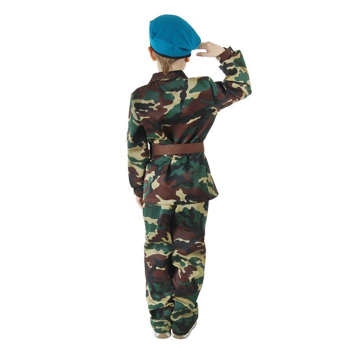 """Карнавальный костюм """"ВДВ"""", китель с манишкой, брюки, берет, ремень, рост 116-120 см"""