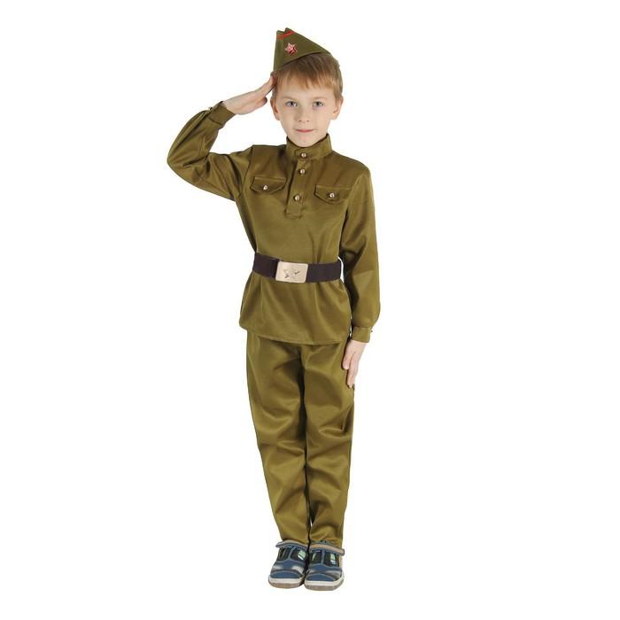 """Детский карнавальный костюм """"Военный"""", брюки, гимнастёрка, ремень, пилотка, р-р 30-32, рост 120-130 см"""