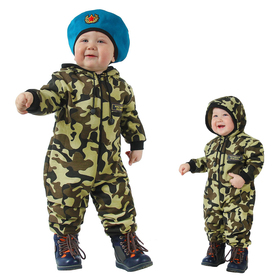 Carnival camouflage overalls with a beret for the kids, knitwear, height 80 cm