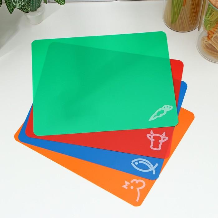 Набор досок разделочных гибких прямоугольных 34,5×27,5×0,1 см, 4 шт, цвет МИКС