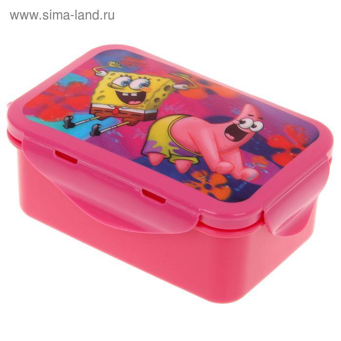 """Контейнер пищевой 16х10 см с зажимами """"Губка Боб"""", цвет розовый 3D"""