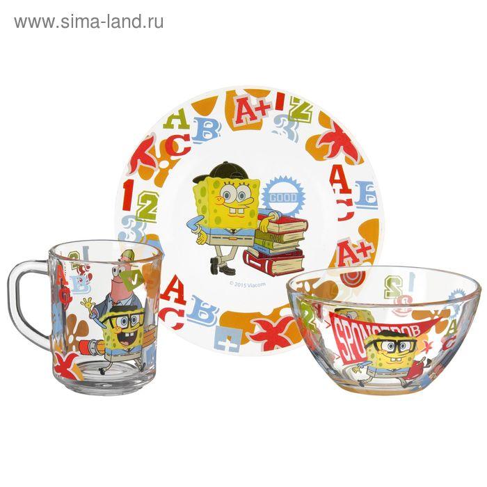 """Набор детской посуды """"Губка Боб. Школа"""", 3 предмета: кружка 250 мл, салатник 13 см, тарелка 19,5 см, в подарочной упаковке"""
