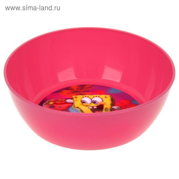 """Миска 15 см """"Губка Боб"""", цвет розовый 3D"""