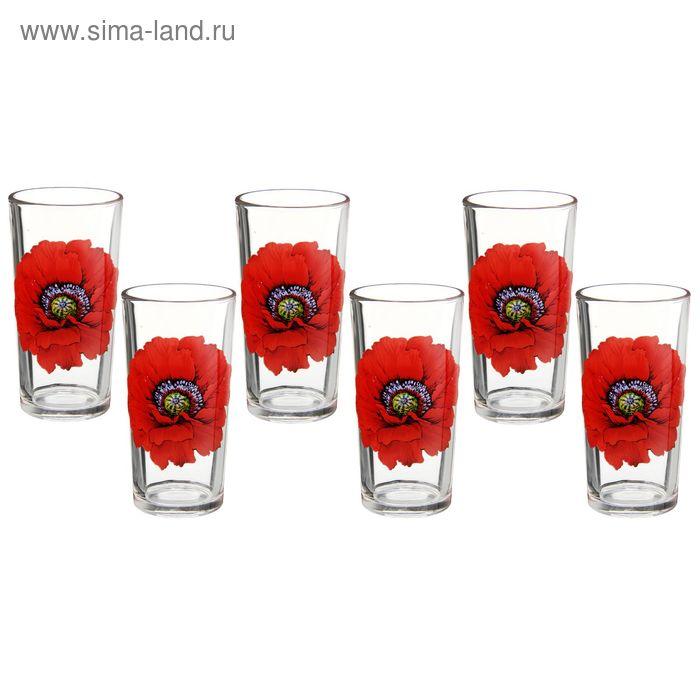 "Набор стаканов 200 мл ""Алый Мак"", 6 шт"