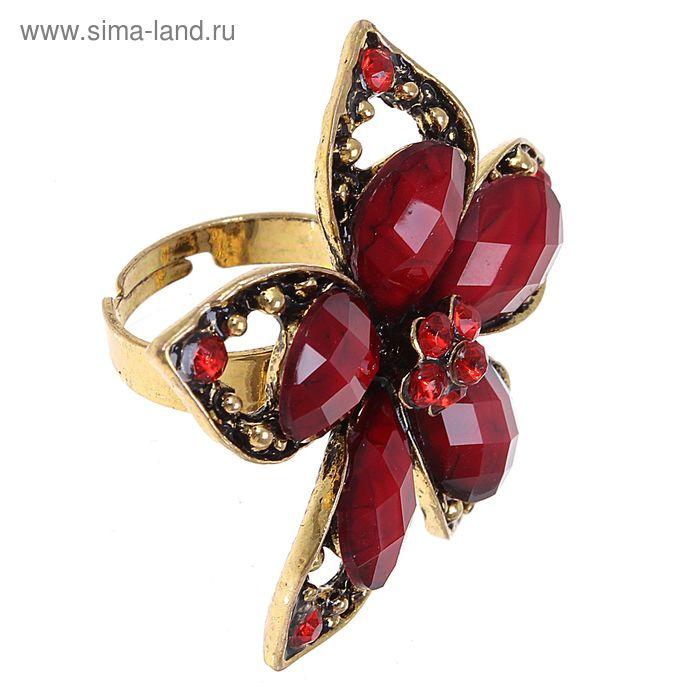 """Кольцо """"Цветочная поляна"""" пятилистник, цвет красный, безразмерное"""