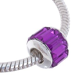 Бусинка 'Грани', цвет фиолетовый в серебре Ош