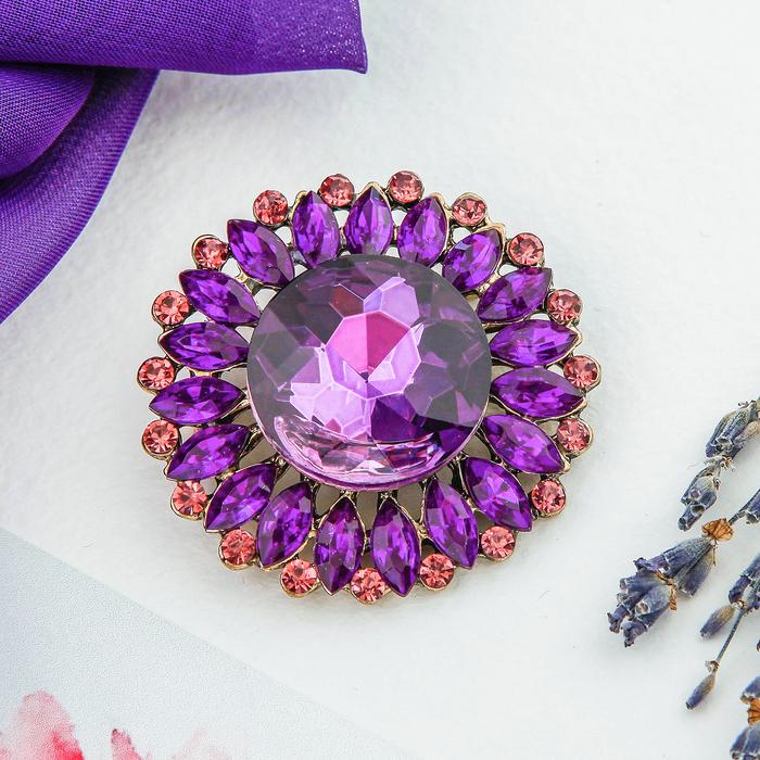 """Брошь """"Цветок"""" объёмный, цвет фиолетовый"""