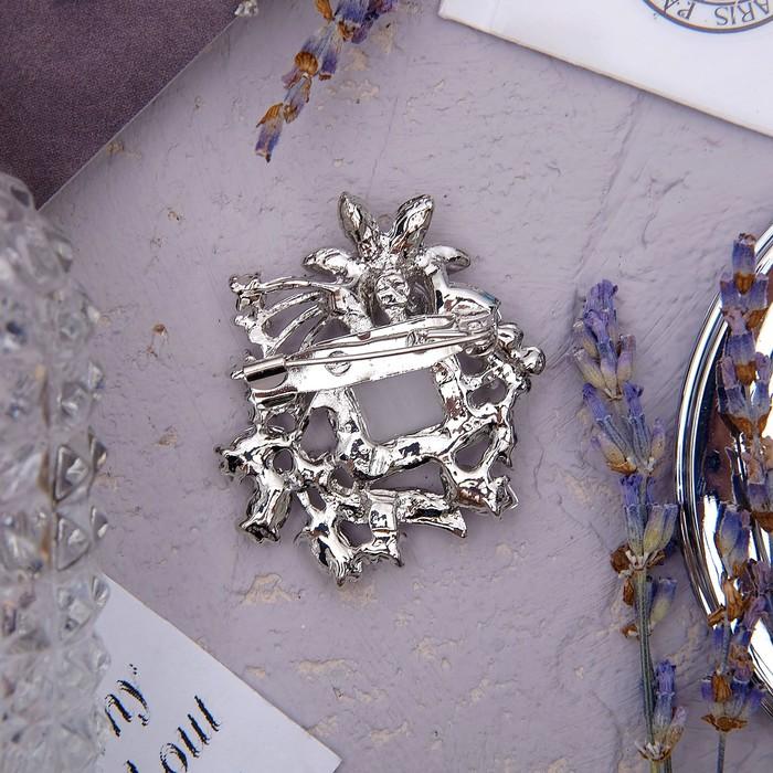 """Брошь """"Ромб"""" с листочками, цвет серый в серебре - фото 274887472"""