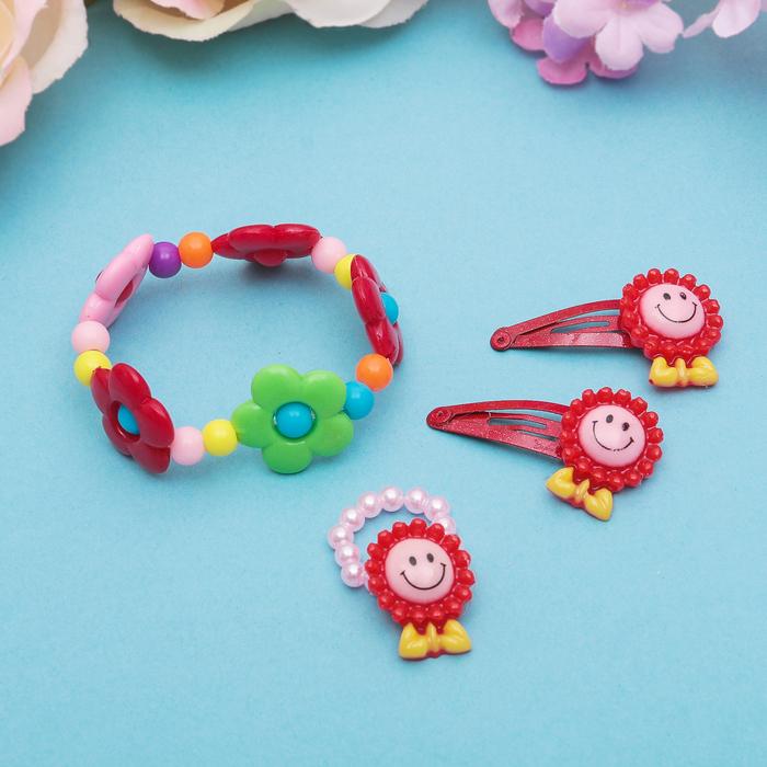 """Набор детский """"Выбражулька"""" 4 предмета: 2 заколки, браслет, кольцо """"Цветы и мишки"""", цвет МИКС, форма МИКС"""