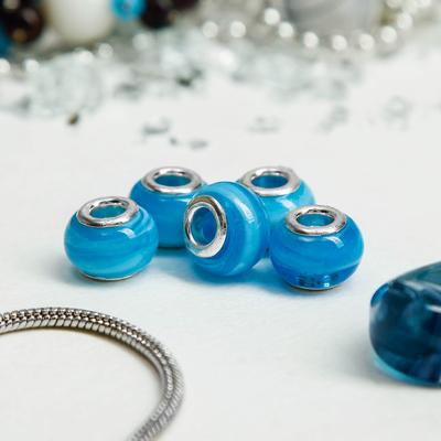 """Бусинка """"Полоски"""", цвет голубой в серебре"""