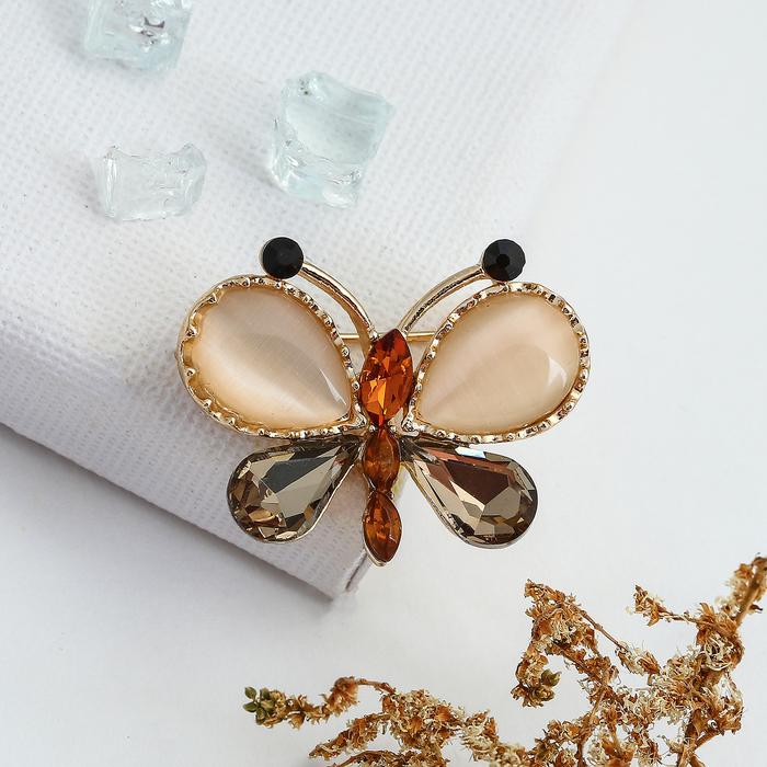 """Брошь """"Бабочка"""" весенняя, цвет коричневый в золоте"""