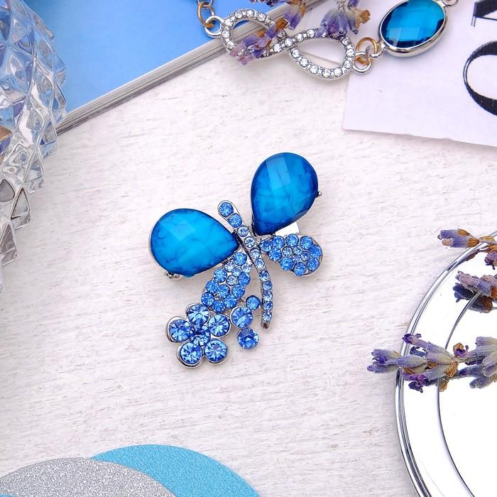 """Брошь """"Бабочка с цветочком"""", цвет синий в серебре"""