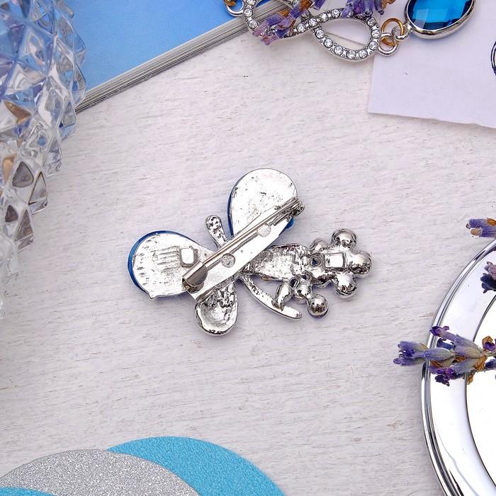 """Брошь """"Бабочка с цветочком"""", цвет синий в серебре - фото 329120258"""