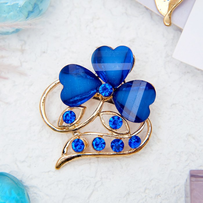 """Брошь """"Цветок"""" трилистник, цвет синий в золоте"""