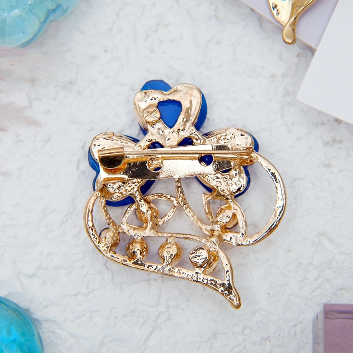 """Брошь """"Цветок"""" трилистник, цвет синий в золоте - фото 301710933"""