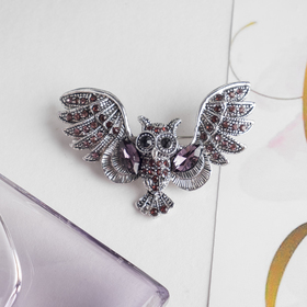 """Brooch """"Owl"""", the color purple in nielloed silver"""