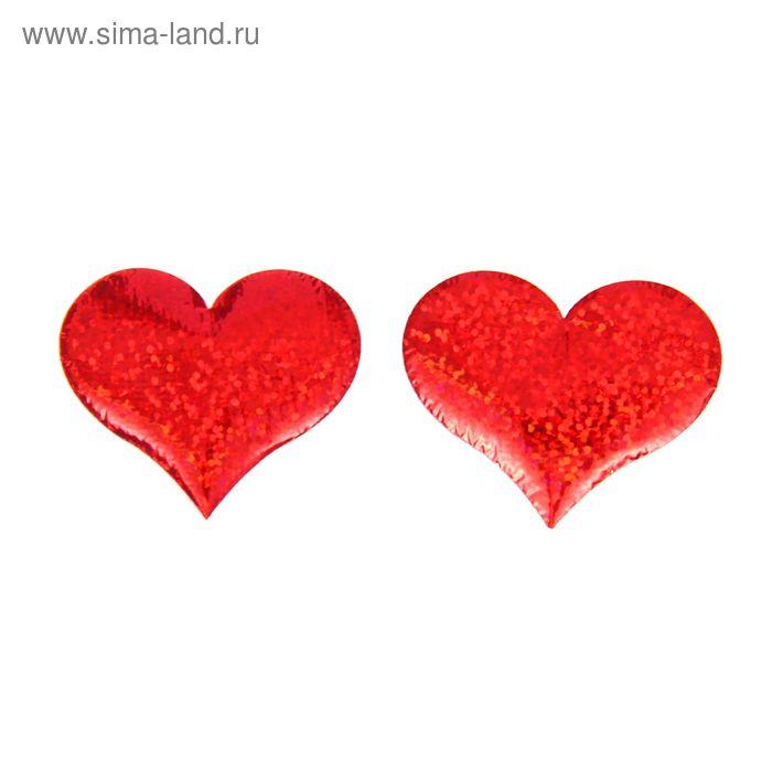 """Сердечки-наклейки """"Голография"""", набор 12 шт., цвет красный"""