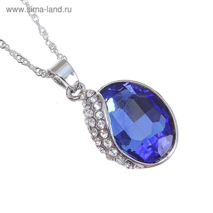 "Кулон ""Овал"", цвет синий в серебре"