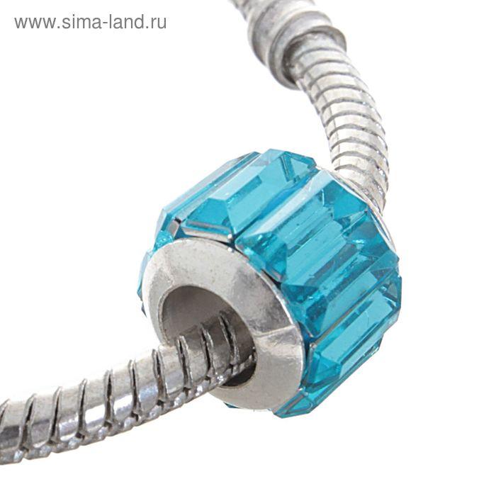 """Бусинка """"Грани"""", цвет голубой в серебре"""