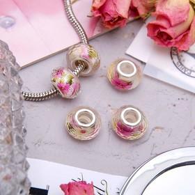 Бусинка 'Шиповник', цвет бело-розовый Ош