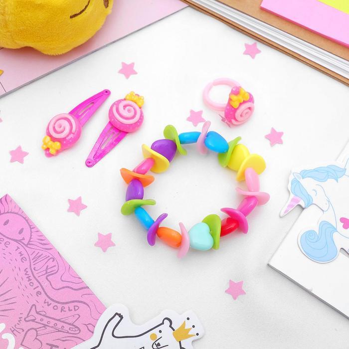 """Набор детский """"Выбражулька"""" 4 предмета: 2 заколки, браслет, кольцо """"Горошек"""", форма МИКС, цвет МИКС"""