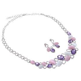 """Набор 2 предмета: серьги, колье """"Листочки"""", цвет розовый в серебре - фото 7468216"""