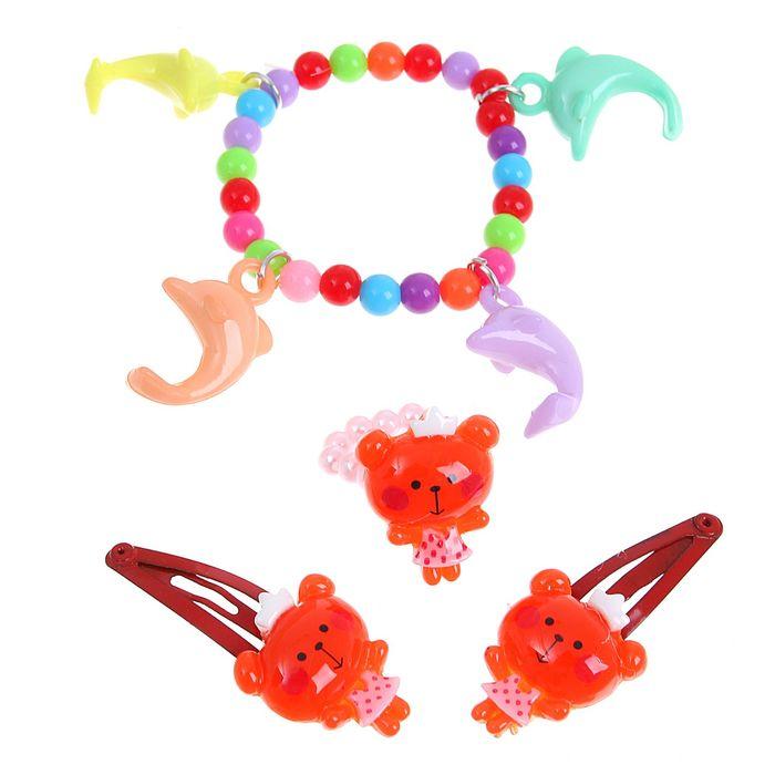 """Набор детский """"Выбражулька"""" 4 предмета: 2 заколки МИКС, браслет, кольцо """"Дельфины"""", цвет МИКС"""