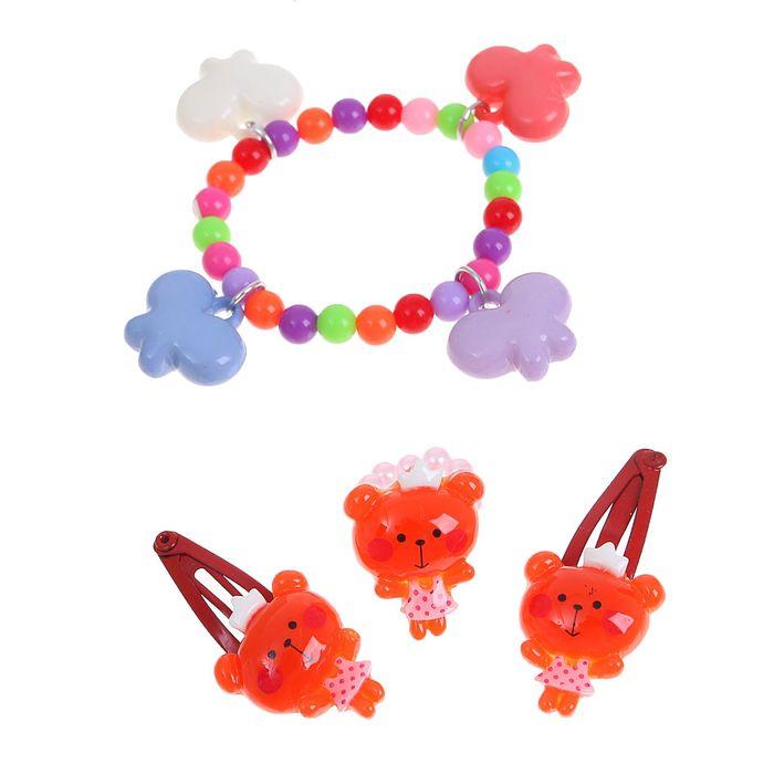 """Набор детский """"Выбражулька"""" 4 предмета: 2 заколки МИКС, браслет, кольцо """"Бабочки"""", цвет МИКС"""