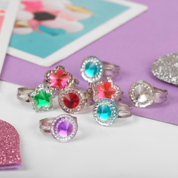 """Кольцо детское """"Выбражулька"""" кристаллик, форма МИКС, цвет МИКС, безразмерное"""