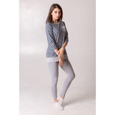 Комплект женский (джемпер, брюки), размер 58, цвет синий в полоску, кулирка