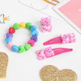 """A set of children's """"Vibracula"""" 4 pieces: 2 hair clips, bracelet, ring Hearts shape MIX, MIX color"""