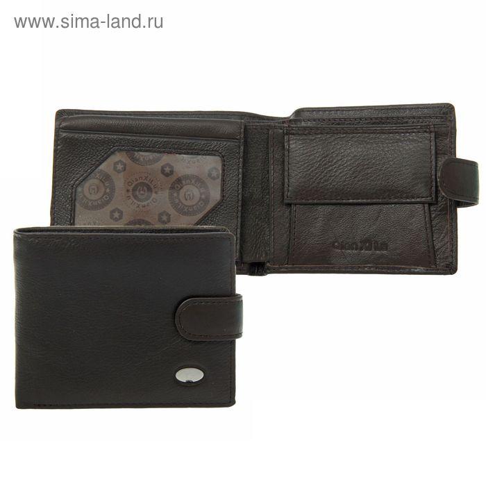 """Кошелёк мужской """"Бриг"""", 2 отдела, отдел для карт, отдел для удостоверения, отдел для монет, тёмно-коричневый"""
