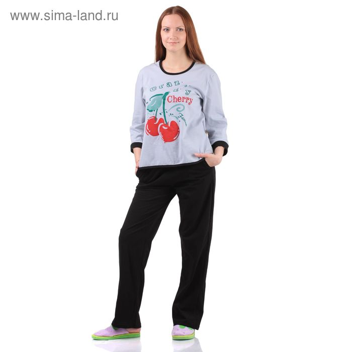 Комплект женский (кофта, брюки) Вишня серый р-р 54