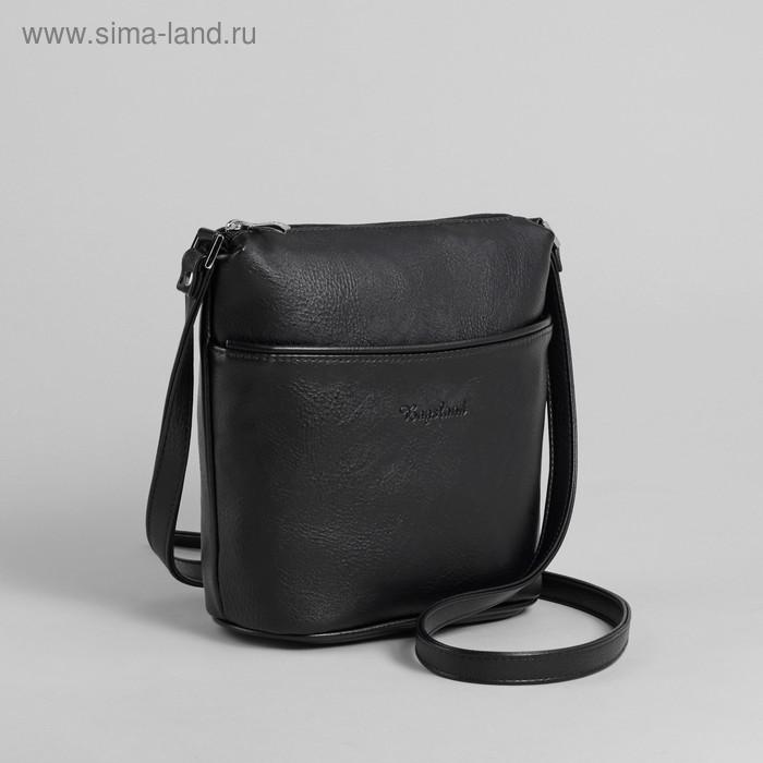 Сумка женская на молнии, 1 отдел, 2 наружных кармана, чёрная