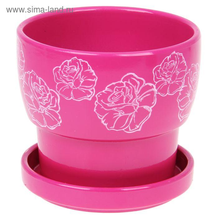 """Кашпо """"Белые розы"""" розовое 1,24 л"""