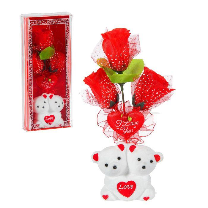 """Декор-украшение """"Влюблённые мишки"""" с цветами, в коробочке"""