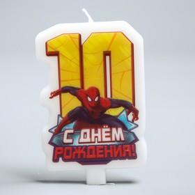 Свеча в торт 'С днем рождения', цифра 10, Человек-Паук Ош