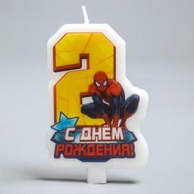 Свеча в торт 'С днем рождения', цифра 2, Человек-Паук Ош