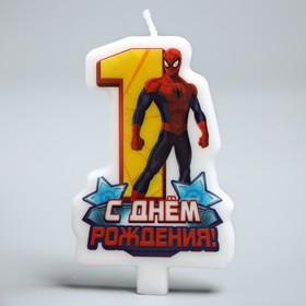 """Свеча в торт """"С днем рождения"""", цифра 1, Человек-Паук"""
