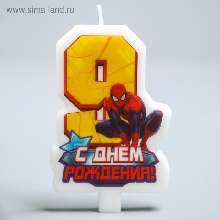 """Свеча в торт """"С днем рождения"""", цифра 9, Человек-Паук"""