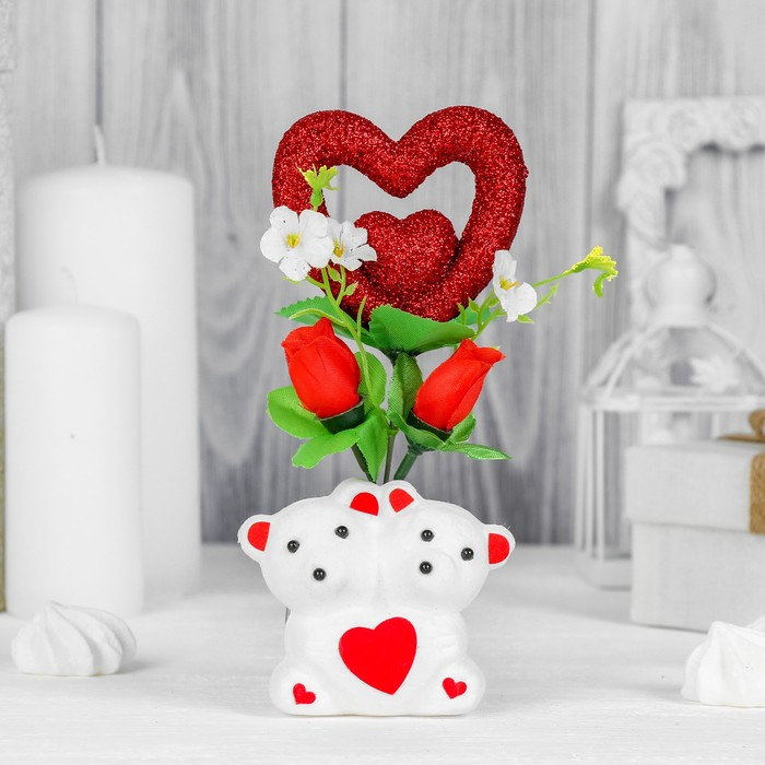 """Декор-украшение """"Мишки"""" с цветочками и сердечком, в коробочке"""