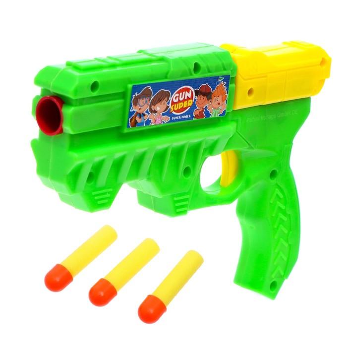 """Пистолет """"Бластер"""", стреляет мягкими пулями (3 шт)"""