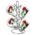 """Набор кружек 250 мл """"Яркие тюльпаны"""", 4 шт, на металлической подставке"""