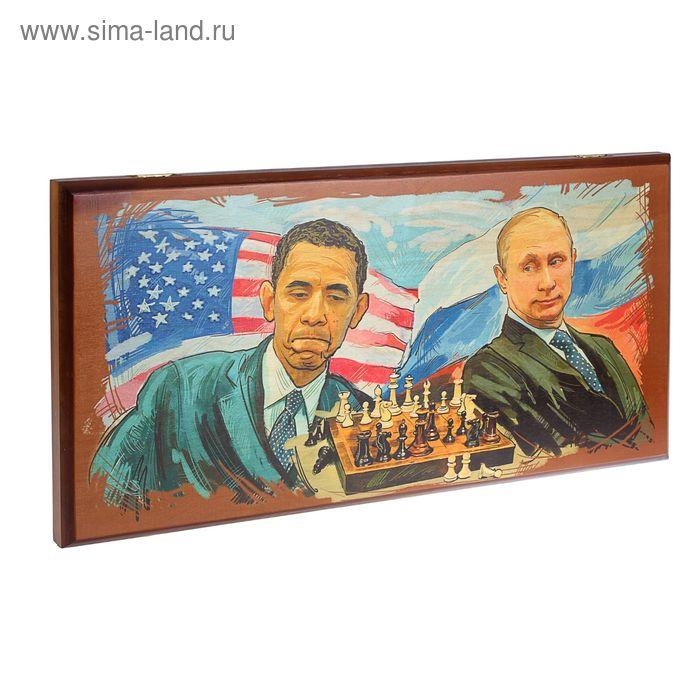 "Нарды большие ""Путин и Обама"" 60х30х3,5см"